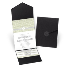 Sweet Romance Black Pocket Wedding Invitation