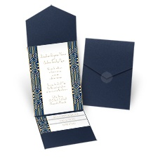 Grand Presentation Navy Pocket Wedding Invitation