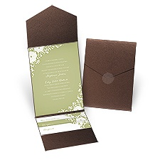 Sweet Dreams Brown Shimmer Pocket David Tutera Wedding Invitation