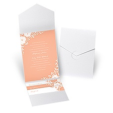 Sweet Dreams White Shimmer Pocket Wedding Invitation