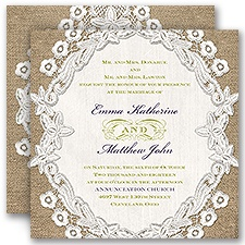 Embroidered Embrace Rustic Wedding Invitation