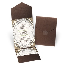 Embroidered Embrace Brown Shimmer Pocket Rustic Wedding Invitation