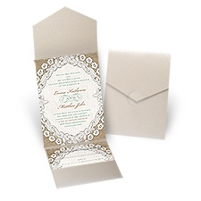 Embroidered Embrace Gold Shimmer Pocket Wedding Invitation