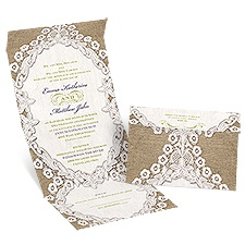 Embroidered Embrace Seal and Send David Tutera Wedding Invitation