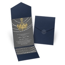 Mood Lighting Navy Pocket Wedding Invitation