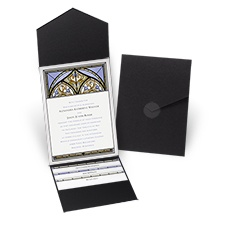 Radiant Art - Orchid - Black Pocket Invitation