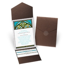 Radiant Art Palm Brown Shimmer Pocket Wedding Invitation