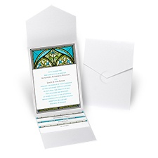 Radiant Art - Palm - White Shimmer Pocket Invitation