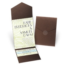 Palm Tree Canopy Brown Shimmer Pocket Wedding Invitation