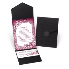 Exotic Orchid - Black - Pocket Invitation