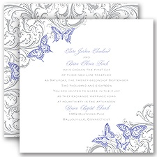 Love Takes Flight Purple Wedding Invitation