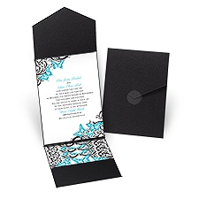 Love Takes Flight Black Pocket Wedding Invitation