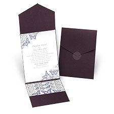 Love Takes Flight Eggplant Pocket Wedding Invitation