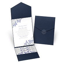 Love Takes Flight Navy Pocket Purple Wedding Invitation