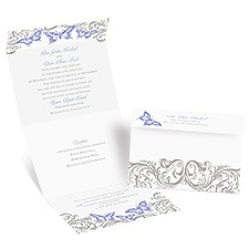 Love Takes Flight Seal and Send Purple Wedding Invitation