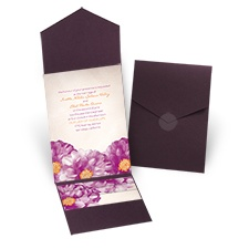 Spanish Poppy Eggplant Pocket Wedding Invitation