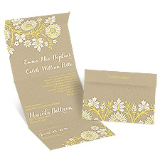 Prairie Floral Seal and Send Wedding Invitation