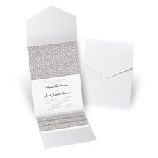Classic Romance White Shimmer Pocket Wedding Invitation