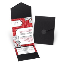 Forever Vintage Black Pocket Wedding Invitation