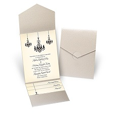 Ballroom Beauty Gold Shimmer Pocket Wedding Invitation