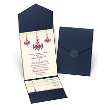 Ballroom Beauty Navy Pocket Wedding Invitation