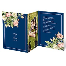 Brilliant Blooms Blue Wedding Invitation