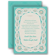 Darling Lace Blue Wedding Invitation