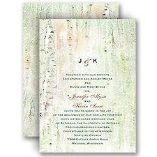 Watercolor Birch Trees Rustic Wedding Invitation