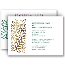 Contemporary Floral Gold Foil Gold Wedding Invitation