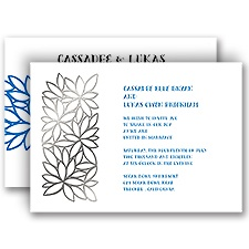 Contemporary Floral Silver Foil Wedding Invitation