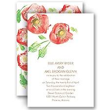 Pretty Poppies Gold Foil Wedding Invitation