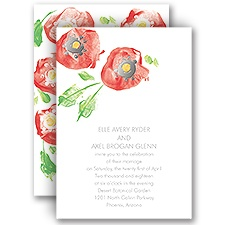 Pretty Poppies - Silver - Foil Invitation