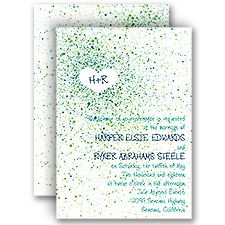 Splatter Paint Emerald Wedding Invitation