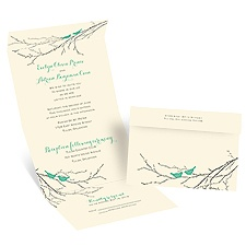 Boughs and Birds Ecru Seal and Send Wedding Invitation