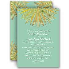 Brilliant Rays Ecru Blue Wedding Invitation