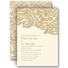 Ornate Lace Ecru Wedding Invitation