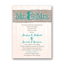 Burlap Band - Mr. & Mrs. - Invitation