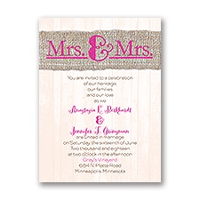 Burlap Band - Mrs. & Mrs. - Invitation
