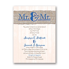 Burlap Band Mr. & Mr. Petite Wedding Invitation