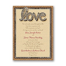 Wooden Words Wedding Invitation