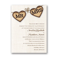 Rustic Hearts Wedding Invitation