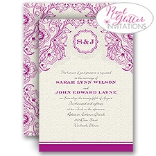 Vivid Vines Real Glitter Wedding Invitation