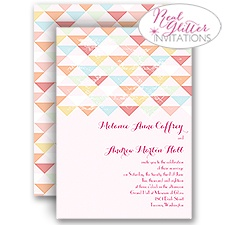 Geo Glow Real Glitter Wedding Invitation