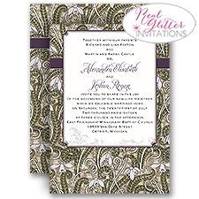 Vintage View Real Glitter Wedding Invitation