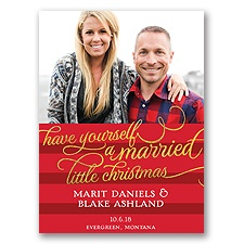 Married Little Christmas Holiday Card Photo Save the Date