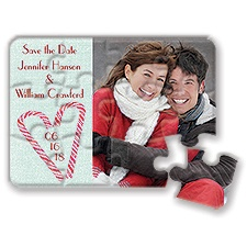 Candy Cane Heart - Holiday Save the Date Puzzle