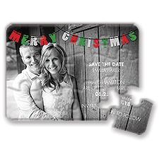 Christmas Banner Holiday Modern Save the Date Puzzle