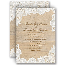 Wood and Lace Rustic Wedding Invitation