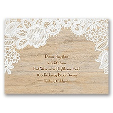 Wood and Lace - Reception Card