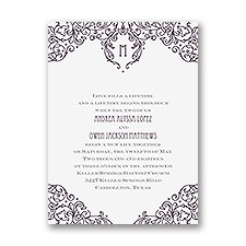 Henna Monogram Petite Wedding Invitation
